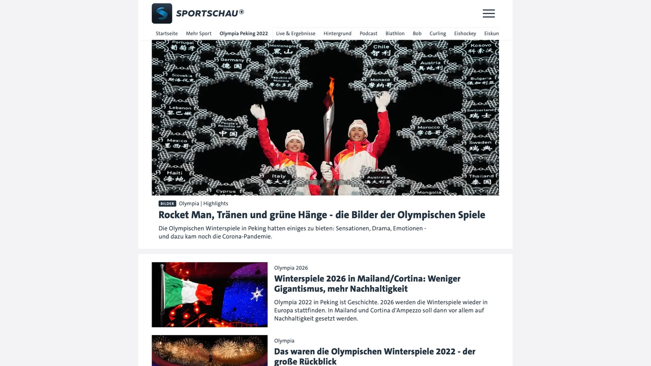 Sportschau Olympics website