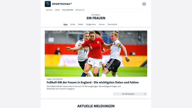Sportschau's website covering the UEFA Women's Championships