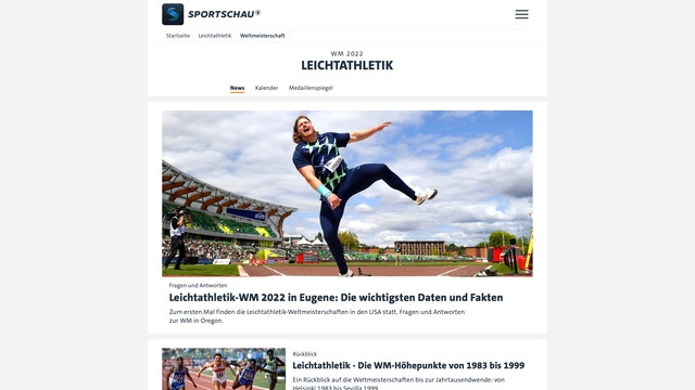 Sportschau website covering the World Championships in Athletics